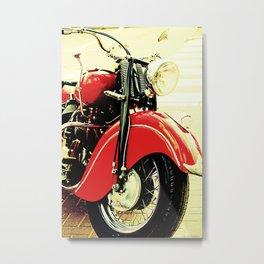 Motorcycle-Red Metal Print