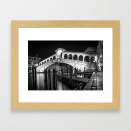 VENICE Rialto Bridge at Night | Monochrome Framed Art Print