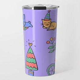 Colours of Happy Holidays Travel Mug