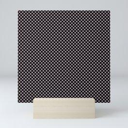 Black and Sea Fog Polka Dots Mini Art Print