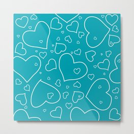 Turquoise and White Hand Drawn Hearts Pattern Metal Print