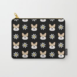 Corgi welsh corgi daisy flowers spring summer florals dog breed pet portrait by pet friendly Carry-All Pouch