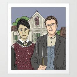 """American Gothic TwentyTwelve"" (ode to Facebook) Art Print"
