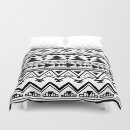 Tribal bohemian Mexican Aztec Style Pattern Doodle Duvet Cover