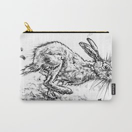 Running Hare Original print Art India ink, watercolour by OozettyArtsstudio Carry-All Pouch