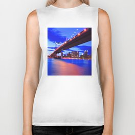 New York City Skyline Bridge Biker Tank