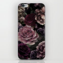 Roses In Burgundy And Pink Vintage Botanical Garden Flowers iPhone Skin