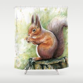 Squirrel and Nut Forest Animals Watercolor Shower Curtain