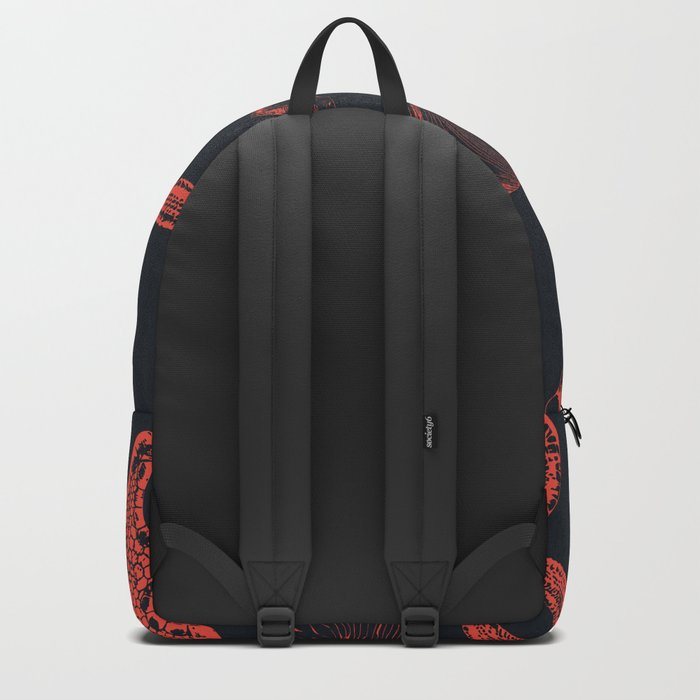 Underwater creatures in red and dark blue Backpack