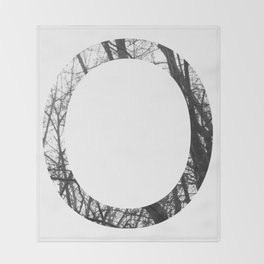 Minimal Letter O Print With Photography Background Throw Blanket