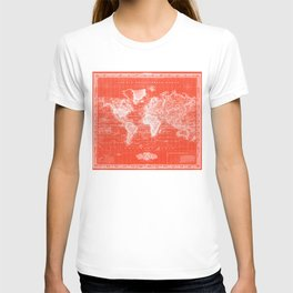 Vintage Map of The World (1833) Red & White T-shirt