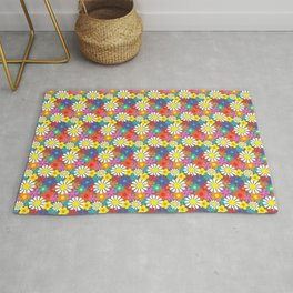 Retro Hippie Flowers Pattern on Grey Rug
