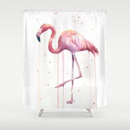 Flamingo Watercolor Tropical bird Shower Curtain