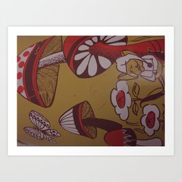 mushrooms and flowers Art Print