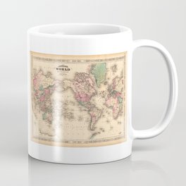 1861 World Map - Johnson's World on Mercators Projection Coffee Mug