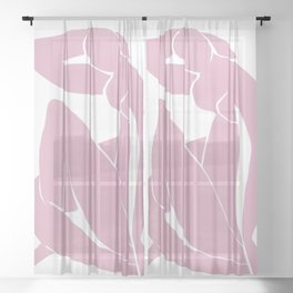 Blue Nude by Henri Matisse (in pink) Sheer Curtain