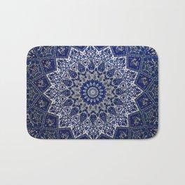 N33 - Blue Andalusian Bohemian Moroccan Mandala Artwork. Bath Mat