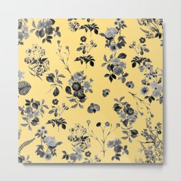 Black and White Floral on Yellow Metal Print