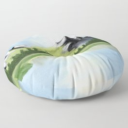 Mountain range, rocky mountains in watercolor Floor Pillow