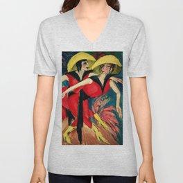 Cabaret dancers in red painting by Ernst Ludwig Kirchner Unisex V-Neck