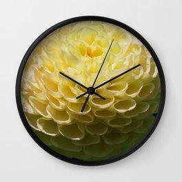 Yellow Dahlia Macro image Wall Clock
