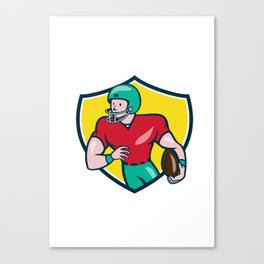 American Football Receiver Running Shield Cartoon Canvas Print