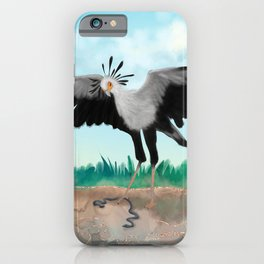 The Secretary Bird and the Snake - African Wildlife Creatures iPhone Case