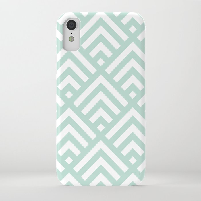 Turquoise Blue geometric art deco diamond pattern iPhone Case