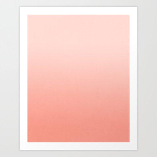 Ombre pastel fade peach blush coral gender neutral basic canvas art print minimalist Art Print