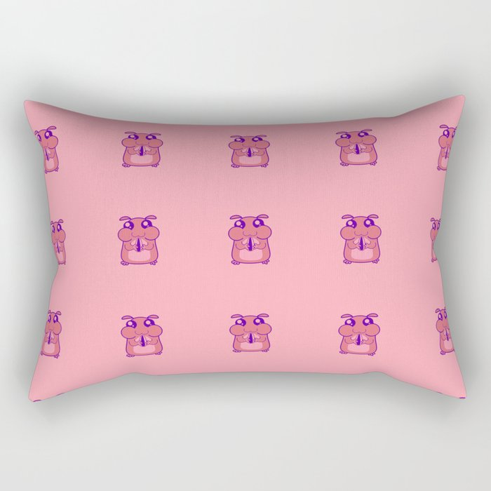 Cute Duotone Hamster Pattern Illustration Rectangular Pillow