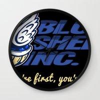 mario kart Wall Clocks featuring Mario Kart: Blue Shell Inc (no distressing) by Macaluso