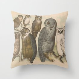 Naturalist Owls Throw Pillow