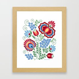 Moravian Folk Design Red Framed Art Print