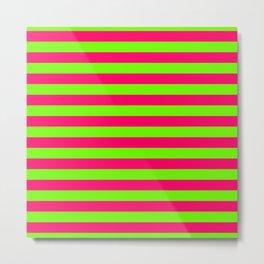 Super Bright Neon Pink and Green Horizontal Beach Hut Stripes Metal Print