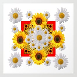 WHITE DAISIES & SUNFLOWERS RED GARDEN  FLORAL Art Print