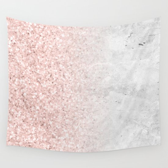 Blush Pink Sparkles on White and Gray Marble by naturemagick