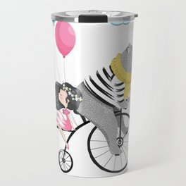 Cute bear and little girl in the sky with bicycle. Travel Mug