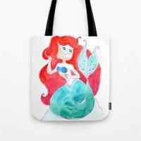 ariel Tote Bags featuring Ariel by Elise Lesueur