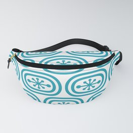 Mid Century Modern Atomic Bands Pattern Turquoise Fanny Pack