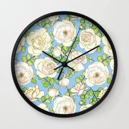 English Roses and Maidenhair Ferns Lt. Blue Pattern Wall Clock