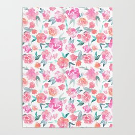 Watercolor Floral - pink/orange Poster
