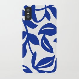 PALM LEAF VINE SWIRL BLUE AND WHITE PATTERN iPhone Case