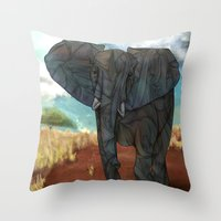african Throw Pillows featuring African Elephant by Ben Geiger