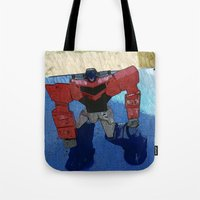 optimus prime Tote Bags featuring Optimus by Tara Michele