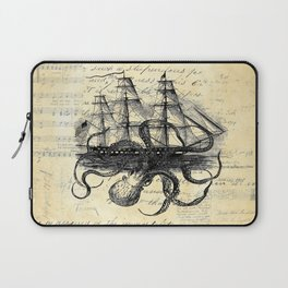 Kraken Octopus Attacking Ship Multi Collage Background Laptop Sleeve