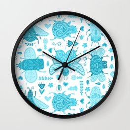 Blue Folk Art Bugs Wall Clock