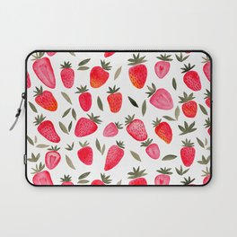 Watercolor strawberries pattern - red and teal Laptop Sleeve