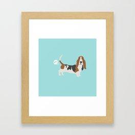 Basset Hound dog breed funny dog fart Framed Art Print