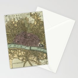 Vintage Map of London England (1740) Stationery Cards