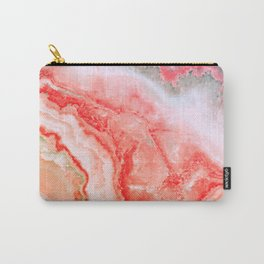 Luxury LIVING CORAL Agate Marble Geode Gem Carry-All Pouch